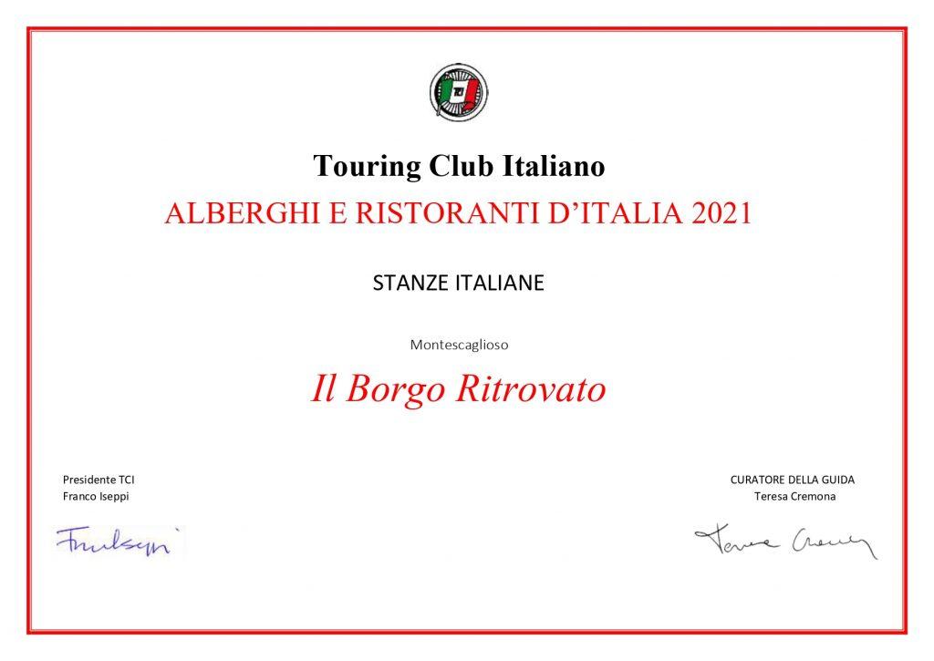 """Il Borgo Ritrovato - Riconoscimento """"Stanze Italiane"""""""